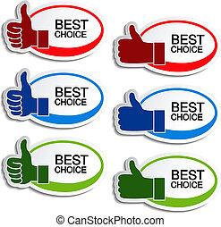mano, vector, mejor, oval, opción, pegatinas, gesto