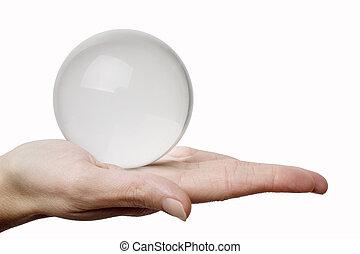 Mano y esfera de cristal