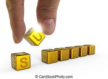 Mano y tres palabras de oro éxito