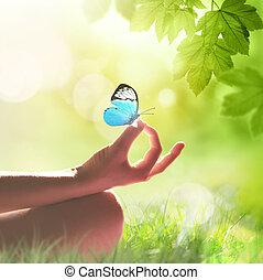 mano, yoga, meditar, pasto o césped, postura, mujer