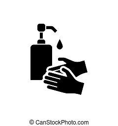 manos, aislado, icono, líquido, jabón, lavado