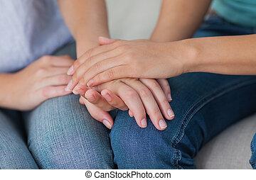 manos, amigos, conmovedor, cierre