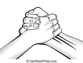 Manos apretadas dos manos masculinas