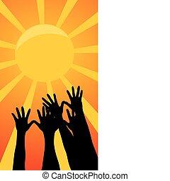 Manos arriba del sol. Una ilustración del vector