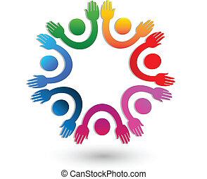manos arriba, trabajo en equipo, logotipo, vector