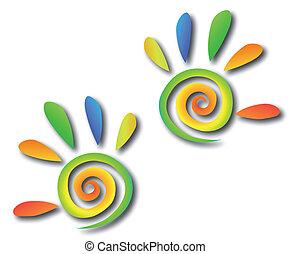 manos, coloreado, espiral, vector, fingers.