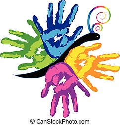 Manos coloridas juntas el icono vectorial