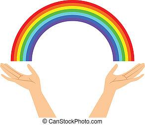 Manos con arco iris