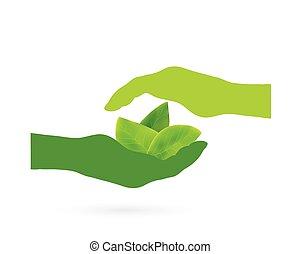 Manos con diseño de hojas