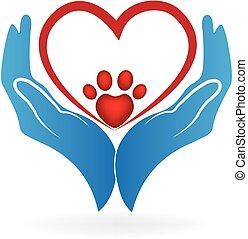 Manos con el logo de la pata del corazón de amor