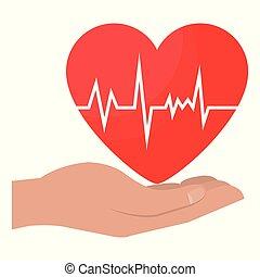Manos con icono cardio