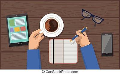 Manos con taza de café y pluma en el espacio de trabajo