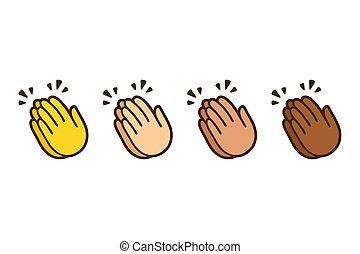 manos, conjunto, aplaudir, emoji