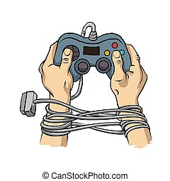 manos, controller., atado, juego, alambre
