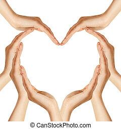 manos, corazón, marca, forma