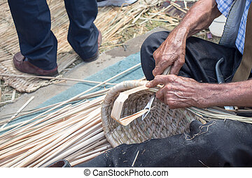manos, craftman, basket., mimbre, elaboración