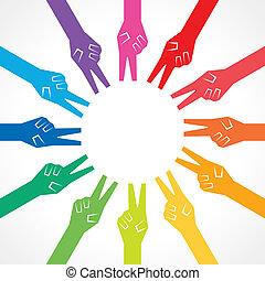 manos, creativo, colorido, victoria