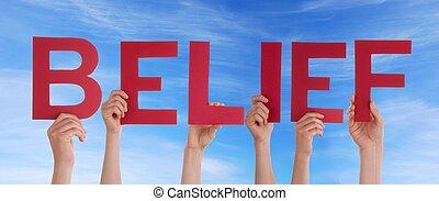 manos, creencia, rojo, tenencia
