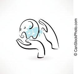 manos, cuidado, icono, elefante
