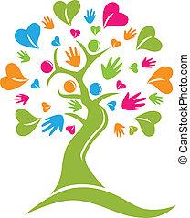 Manos de árbol y corazones calculan vector de icono de logo