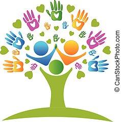 Manos de árbol y corazones figuran logo