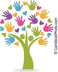 Manos de árbol y el logo de corazones