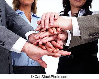 Manos de equipo de gente de negocios.