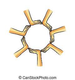 Manos de formación en círculo