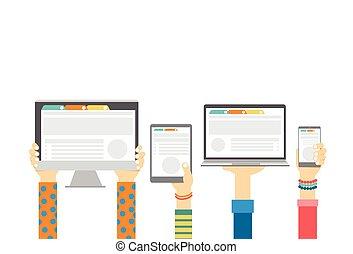 Manos de grupo sosteniendo inteligente celular tablet portátil monitor, concepto de tecnología