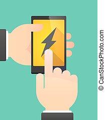 Manos de hombre usando un teléfono mostrando un rayo