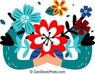 manos de valor en cartera, flores, ramo
