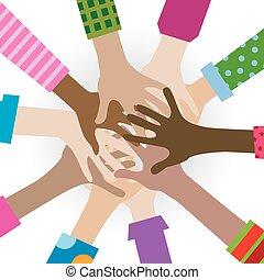 manos, diverso, togetherness