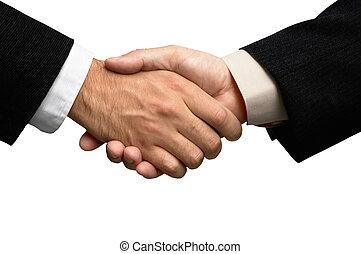 manos, dos, hombres de negocios, sacudida