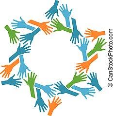 Manos en círculo. Concepto el trabajo en equipo y la comunidad