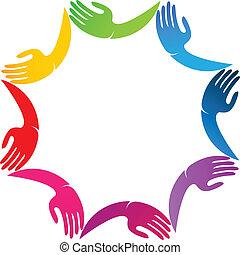 Manos en el diseño de logo de colores vívidos