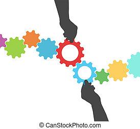 manos, engranaje, gente, proceso, dirección, tecnología