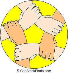 Manos humanas haciendo un círculo