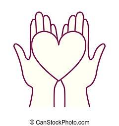 manos, icono, caridad, corazón, cáncer