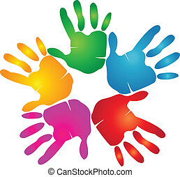 Manos impresas en colores vívidos