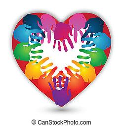 Manos juntas para el vector del logo del amor