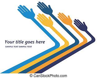 manos llegar, design., afuera