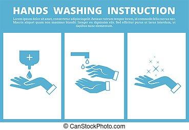manos, médico, lavado, instrucción