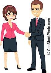 manos, mujer de negocios, sacudida, hombre de negocios