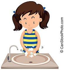 manos, niña, fregadero, lavado