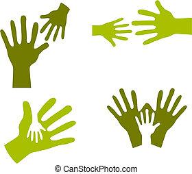 manos, niño, adulto