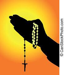 manos, rosario, silueta