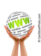 Manos sosteniendo una esfera de la WWW