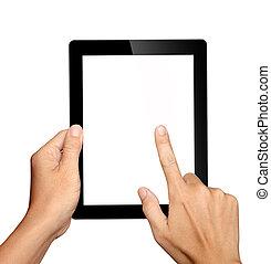 Manos sosteniendo y tocando en la tablet pc aislada