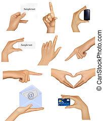 manos, tenencia, objects., conjunto