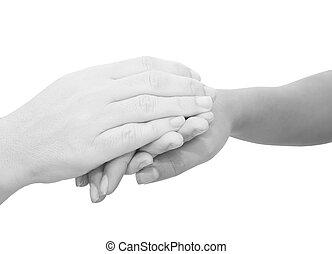 manos, tenencia, simbólico, sympathies, otro, mientras, expresar, cada